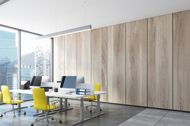 Ligth Wooden Open Office, Computers, Side View Stock Illustration ...