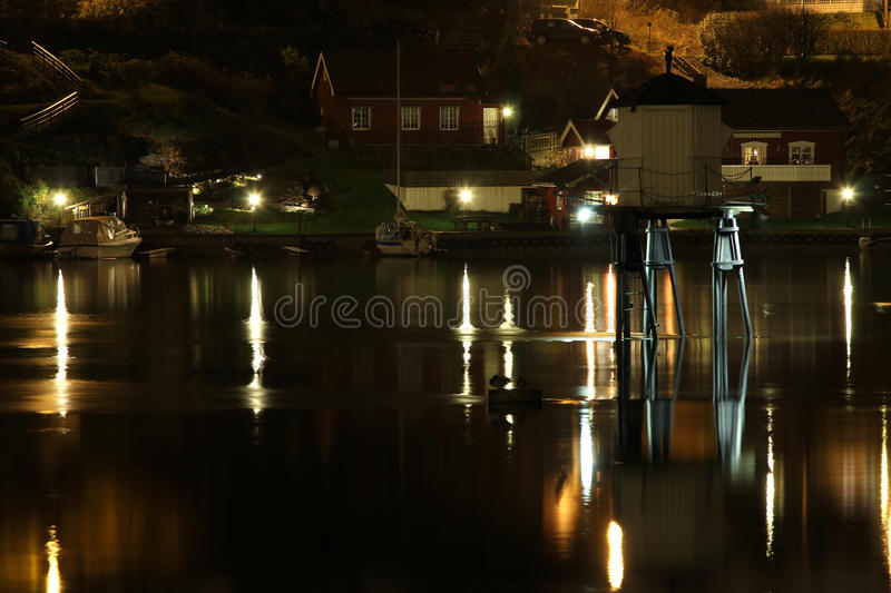 Ligthouse in the night. Small ligthouse in the river. Porsgrunn, south Norway stock image