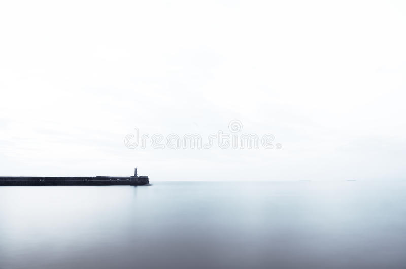 Download Ligthouse On Pier With Copy Space Stock Photo - Image: 43602312