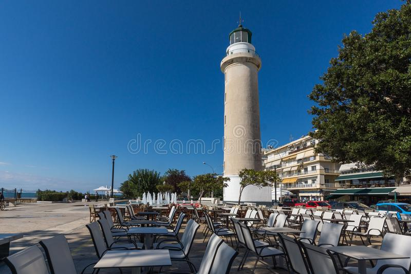 Ligthouse in town of Alexandroupoli, East Macedonia and Thrace, Greece. ALEXANDROUPOLI, GREECE - SEPTEMBER 23, 2017: Ligthouse in town of Alexandroupoli, East royalty free stock images