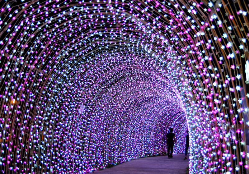 Ligting tunnel in christmas stock photography