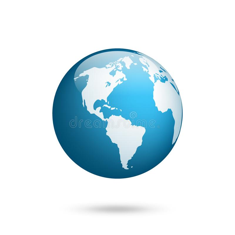 LIGUE À TERRA O GLOBO Grupo do mapa do mundo Planeta com continentes África Ásia, Austrália, Europa, America do Norte e Ámérica d ilustração do vetor