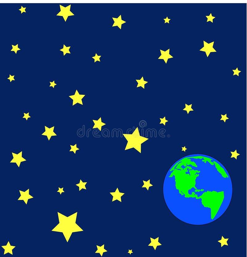 Ligue à terra oribiting no outerspace ilustração royalty free