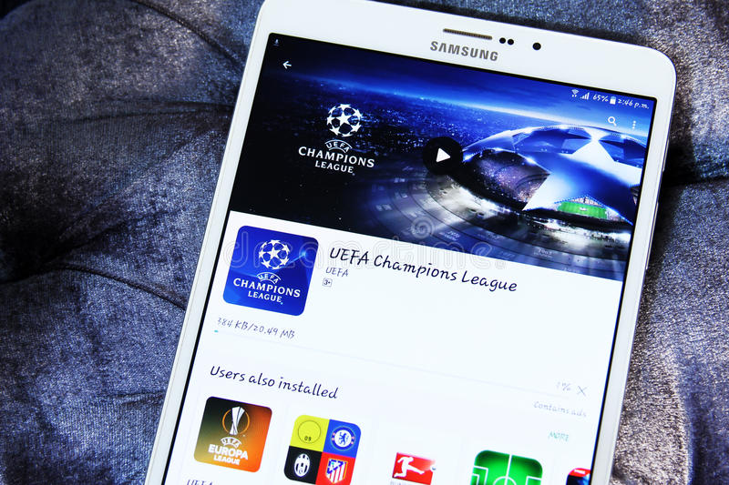 Ligue de champions d'UEFA APP images stock