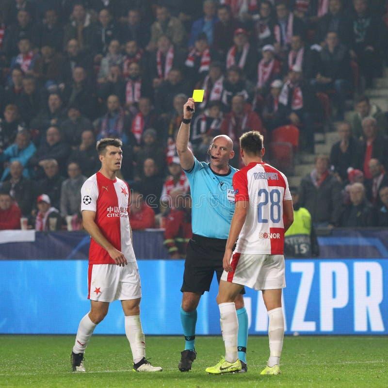 Ligue des champions de l'UEFA : Slavia Praha contre Barcelone photo libre de droits
