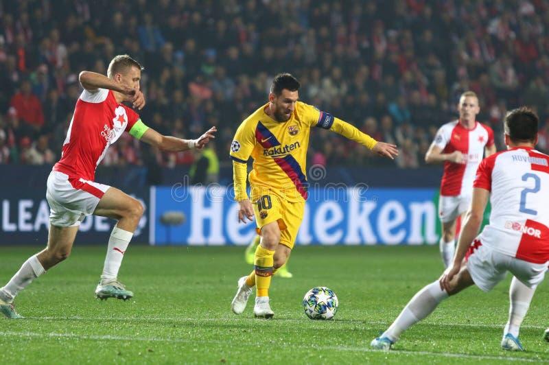 Ligue des champions de l'UEFA : Slavia Praha contre Barcelone image stock