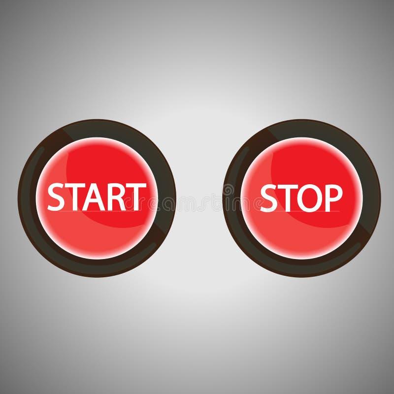 Ligue e pare botões para a Web ilustração do vetor