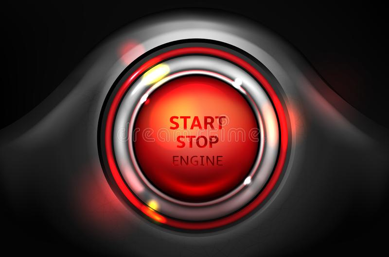 Ligue e pare o botão da ignição do carro do vetor do motor ilustração stock