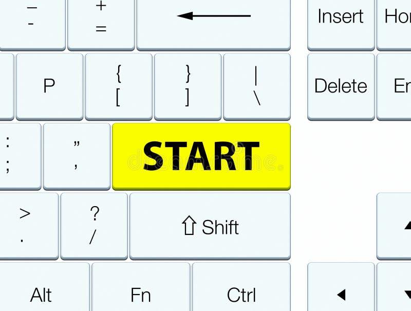 Ligue o botão amarelo do teclado ilustração stock