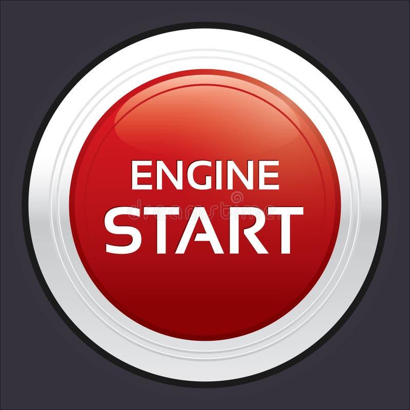 Ligue o botão do motor. Etiqueta redonda vermelha. ilustração royalty free