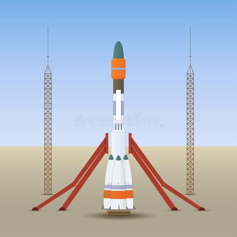 Ligue o foguete de espaço imagem de stock