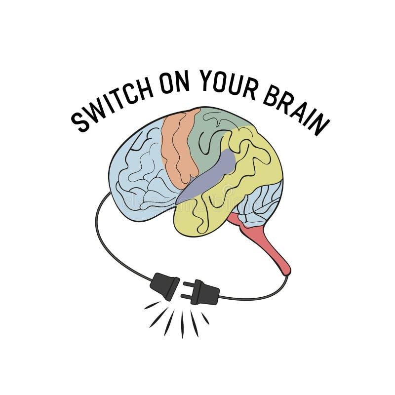 Ligue seu cérebro ilustração do vetor