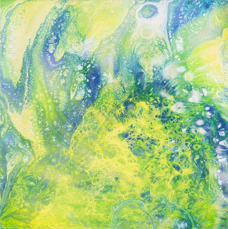 Liguid watercolor and ink abstract colored painting. Wet panted illustration, abstract background and wallpaper. Blue royalty free illustration