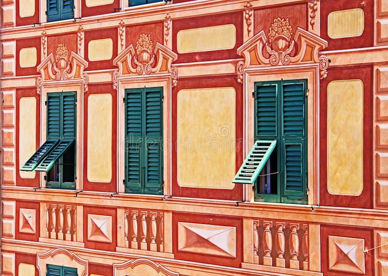 Ligurië, Italië - geschilderd huis trompe-l& x27; oeil detail royalty-vrije stock afbeeldingen