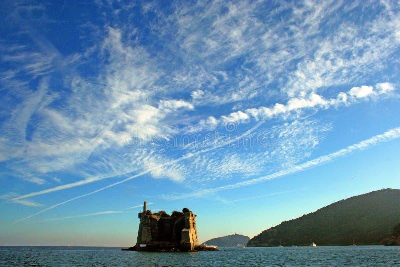 Ligurië: mening van Ligurian kustlijn met bergen overzeese hemel en wolken stock fotografie