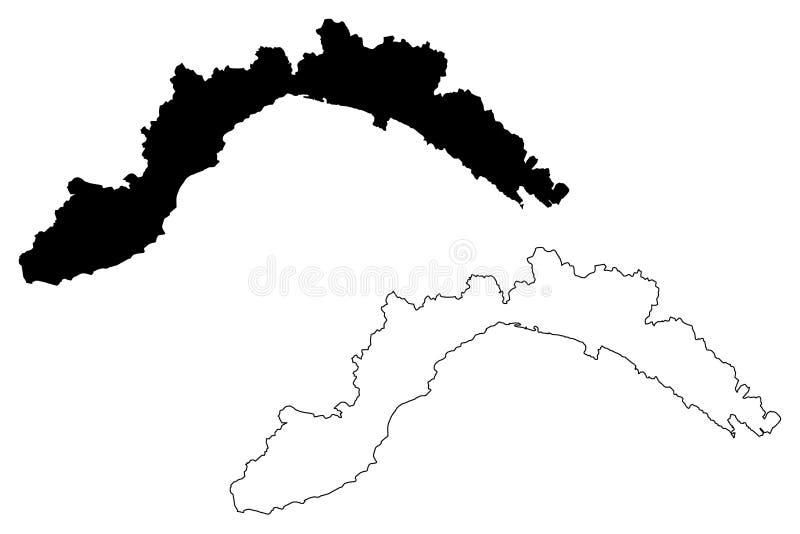 Liguria map vector stock illustration