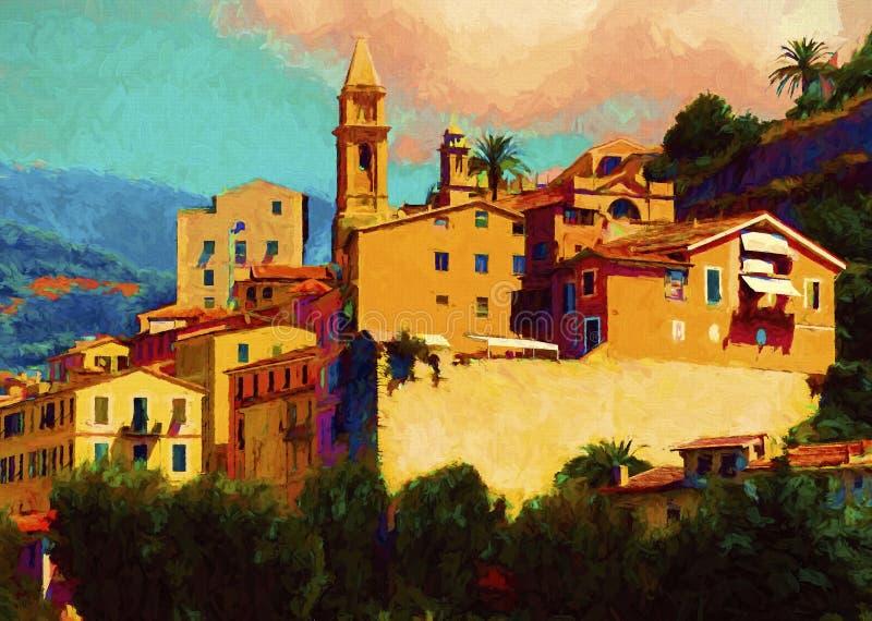 Liguria landscape. Colorfull oil painting of Liguria landscape, Italy. Modern impressonism stock illustration
