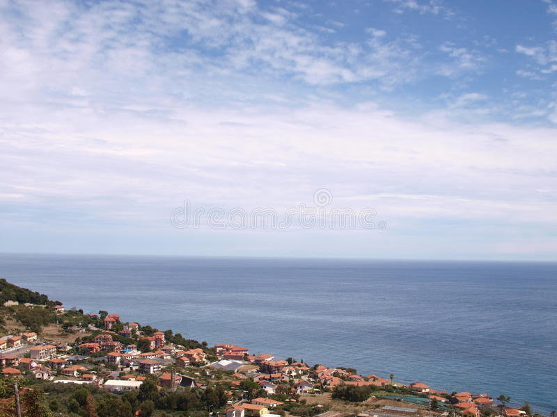 Liguria mediterranean seascape in a bright day. stock photography
