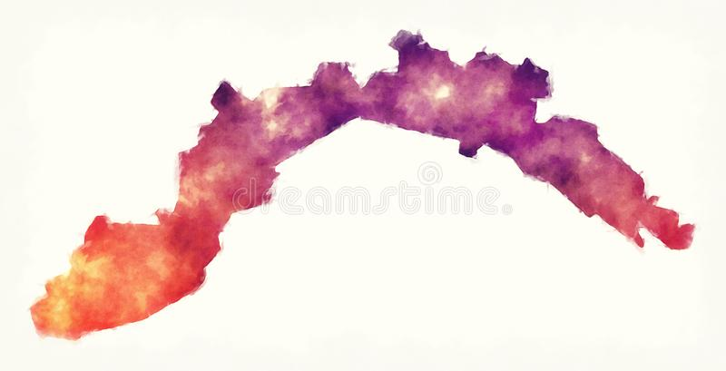Liguria region watercolor map of Italy in front of a white background stock illustration