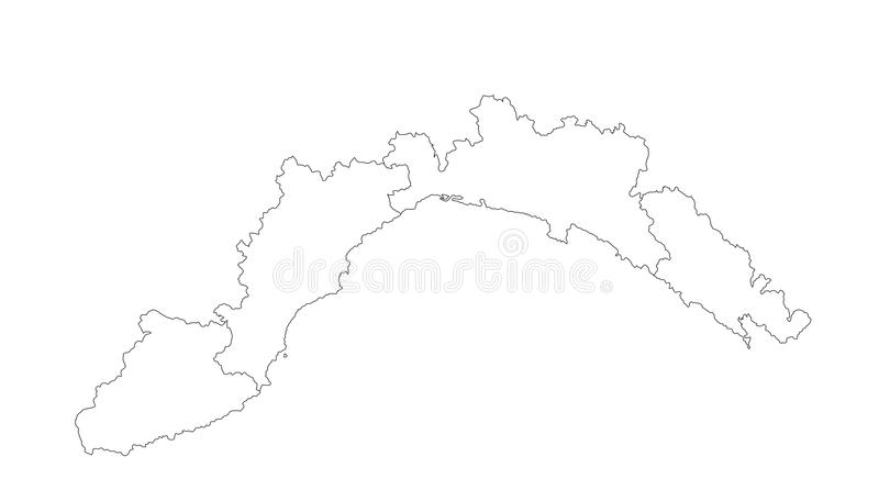 Liguria vector map silhouette vector. Province in Italy. vector illustration