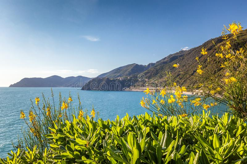 The Ligurian Sea and coast near of the famous Cinque Terre towns royalty free stock photo