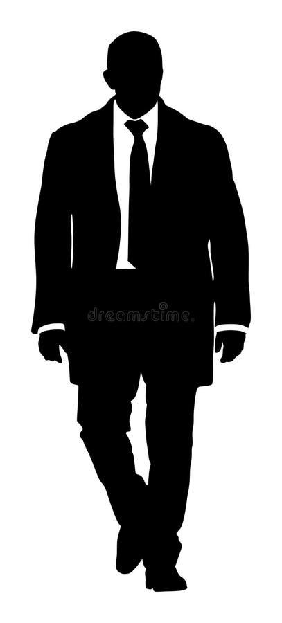 Lijfwacht het letten op milieu Het zekere leider lopen Zakenman op het werksilhouet royalty-vrije illustratie