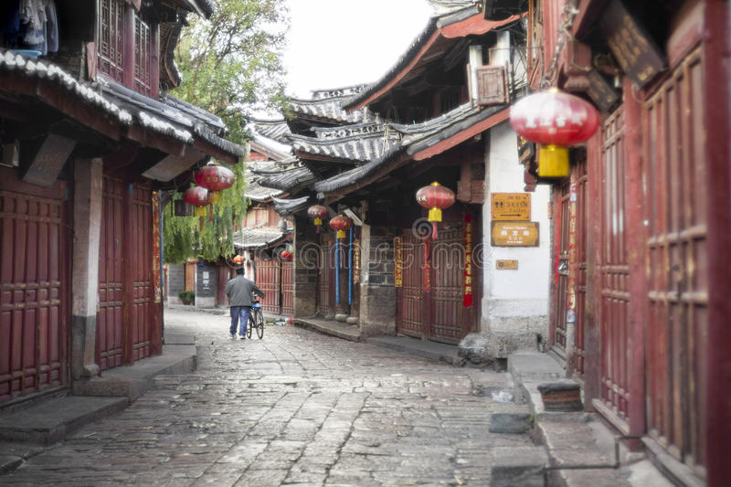 Lijiang old town streets in the morning. royalty free stock images