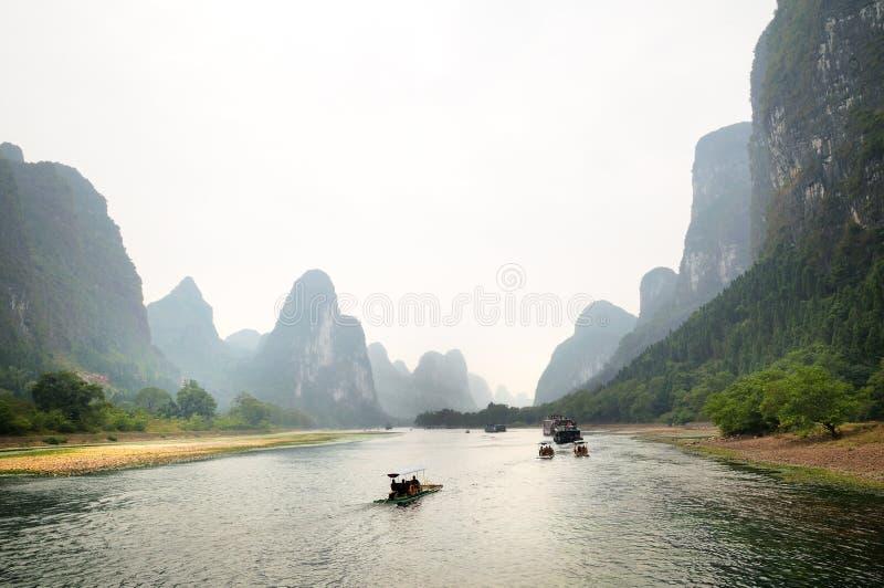 Lijiang River, Guilin, China. Landscape along Lijiang River from Guilin to Yangshuo royalty free stock photography