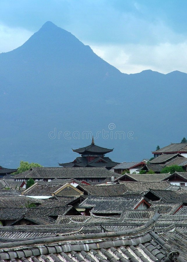 Lijiang Rooftops royalty free stock photography