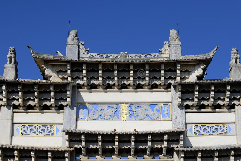 Access gate to the Black Dragon Pool in Jade Spring Park, Lijiang, Yunnan, China stock photography