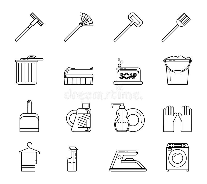 Lijn Art Household Cleaning Symbols Accessories stock illustratie