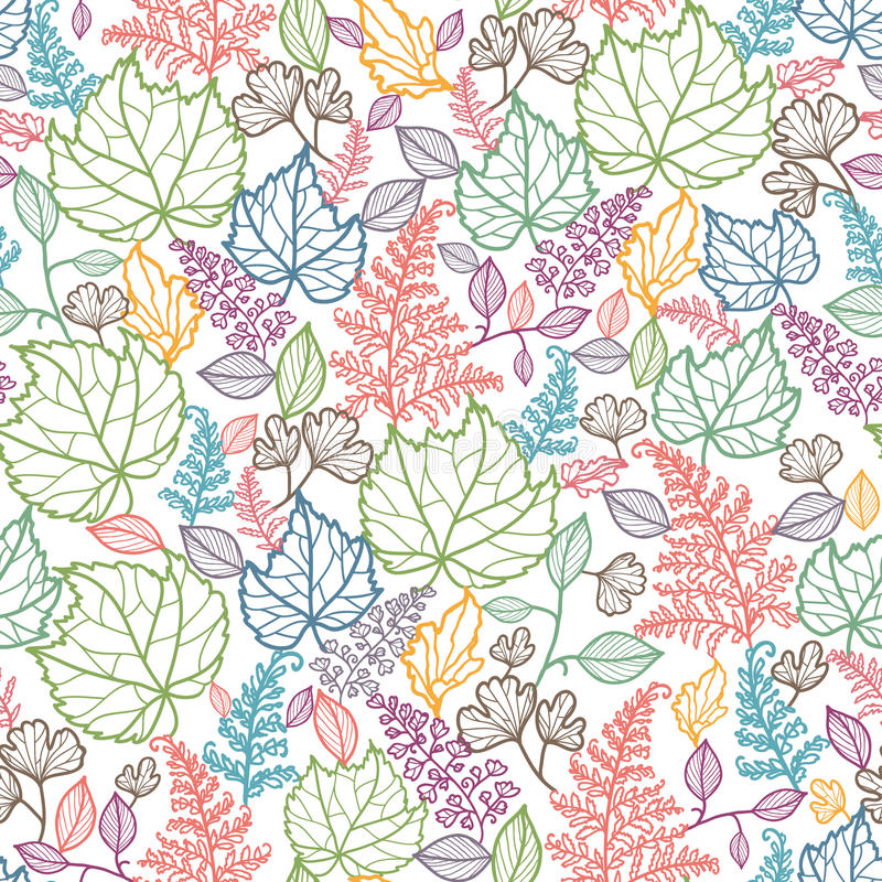 Lijn Art Leaves Seamless Pattern Background stock illustratie
