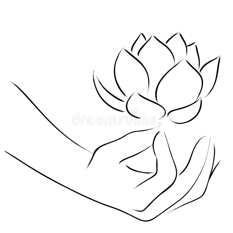 Lijn Art Of Yoga Hand stock illustratie