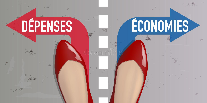 Lijn die van scheiding het dilemma tussen besparingen symboliseren en expensess royalty-vrije illustratie