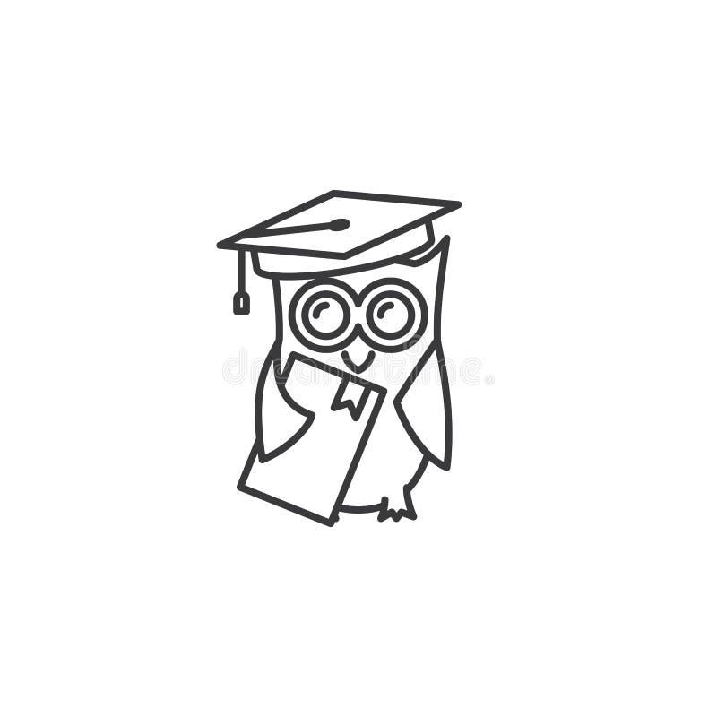 Lijn een diploma behaalde uil met boekpictogram op witte achtergrond vector illustratie