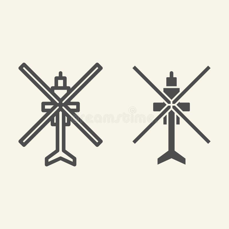 Lijn en glyph pictogram van de helikopter het de hoogste mening Luchtvaart vectordieillustratie op wit wordt geïsoleerd De stijlo royalty-vrije illustratie