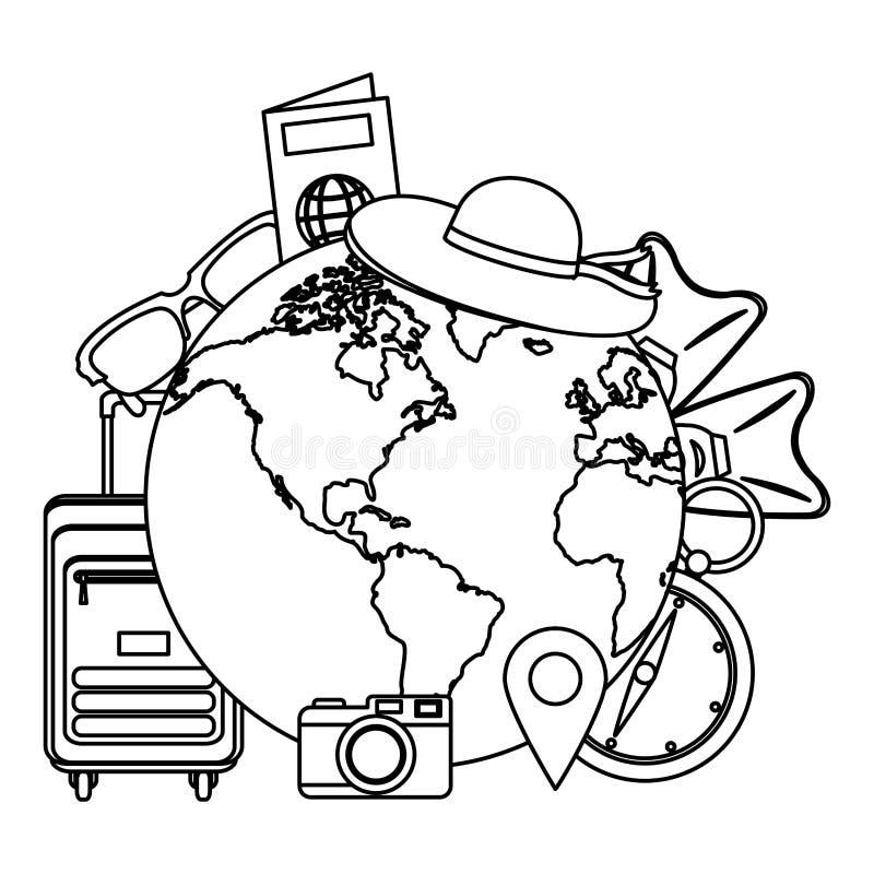 Lijn globale planeet met de voorwerpen van de reisreis royalty-vrije illustratie