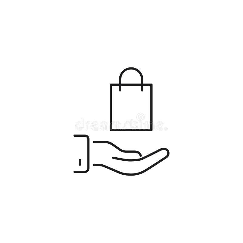 Lijn het winkelen zak in hand illustratie op witte achtergrond royalty-vrije illustratie
