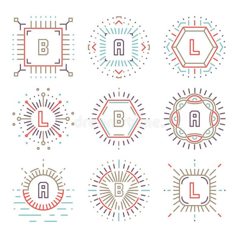 Lijn hipster monogrammen vector illustratie