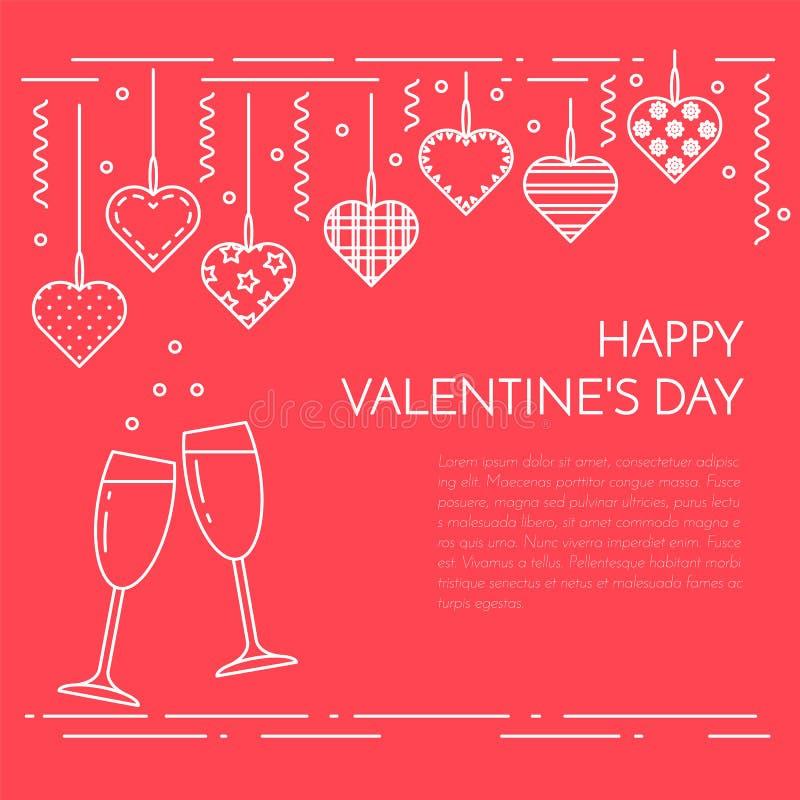 Lijn horizontale banner voor de dag en de liefdethema van Heilige Valentine ` s vector illustratie