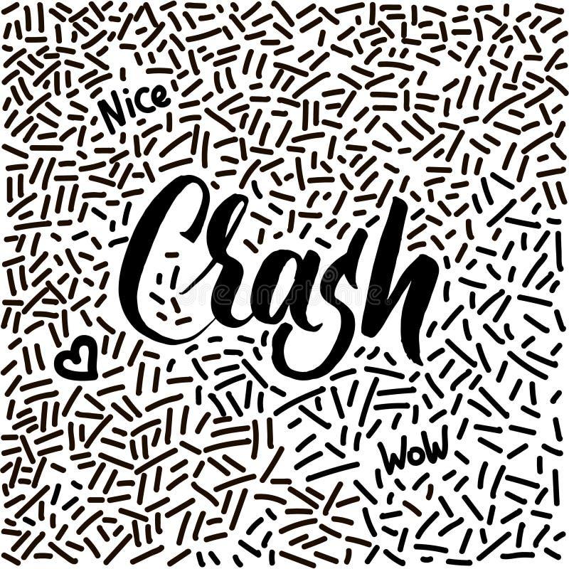 Lijn-kunst hand-drawn krabbel met de moderne Neerstorting van het kalligrafiewoord! royalty-vrije illustratie