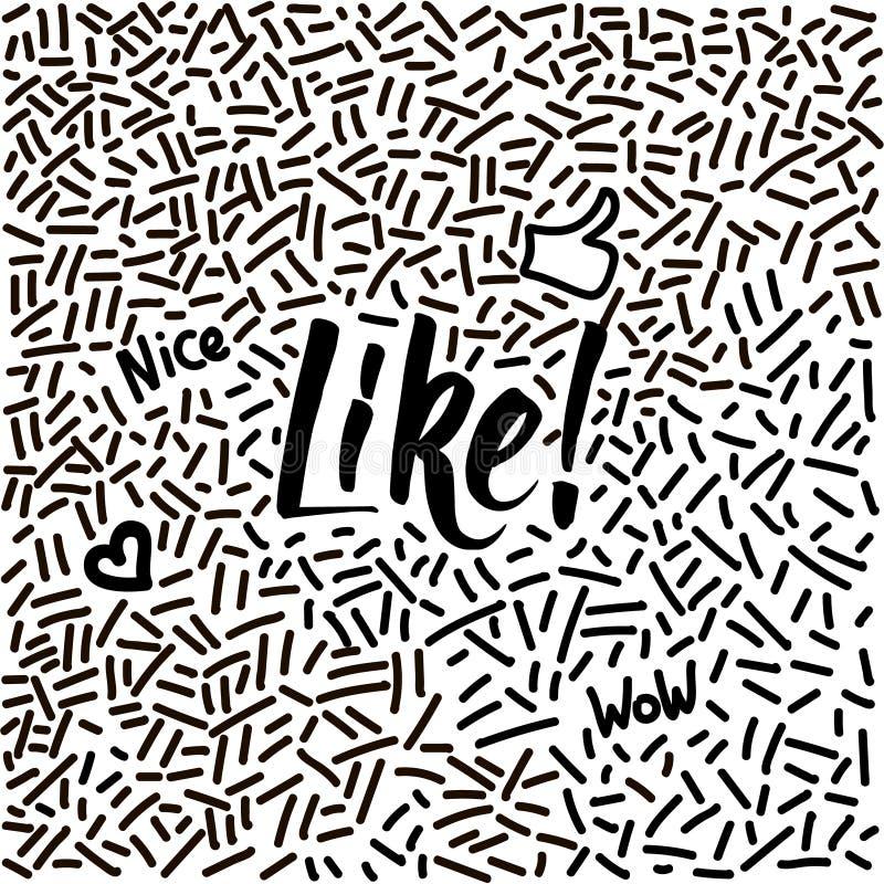Lijn-kunst hand-drawn krabbel met modern kalligrafiewoord als! stock illustratie