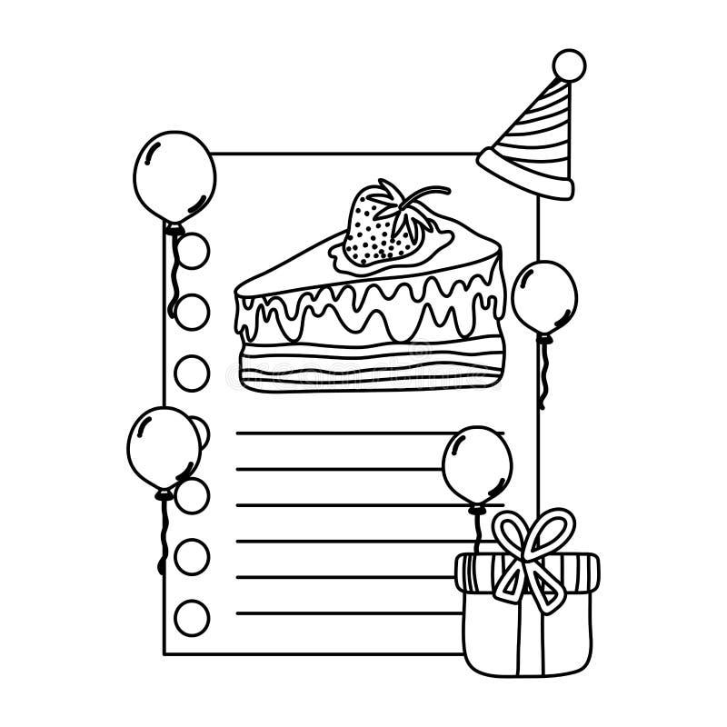Lijn leuke brief aan de viering van de verjaardagspartij vector illustratie