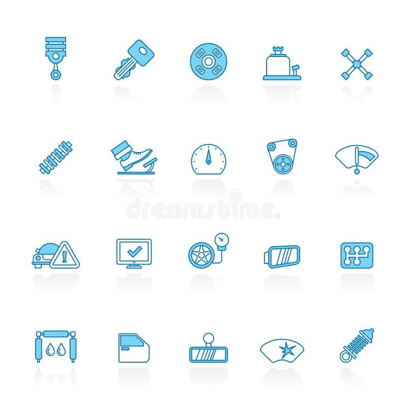 Lijn met blauwe achtergrond Auto de dienst en autodeelpictogrammen vector illustratie