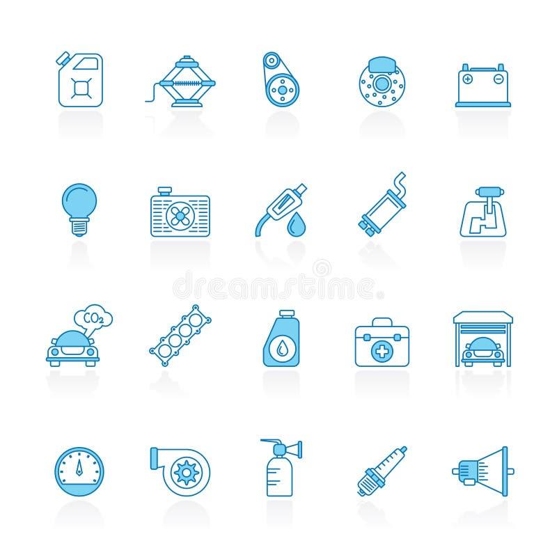 Lijn met blauwe achtergrond Auto de dienst en autodeelpictogrammen royalty-vrije illustratie