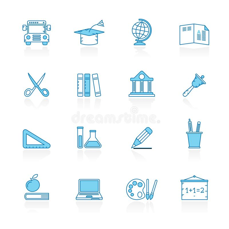 Lijn met blauwe achtergrondonderwijs en schoolpictogrammen royalty-vrije illustratie