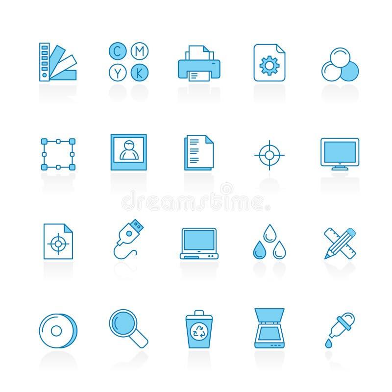 Lijn met de blauwe pictogrammen van de achtergronddrukindustrie stock illustratie