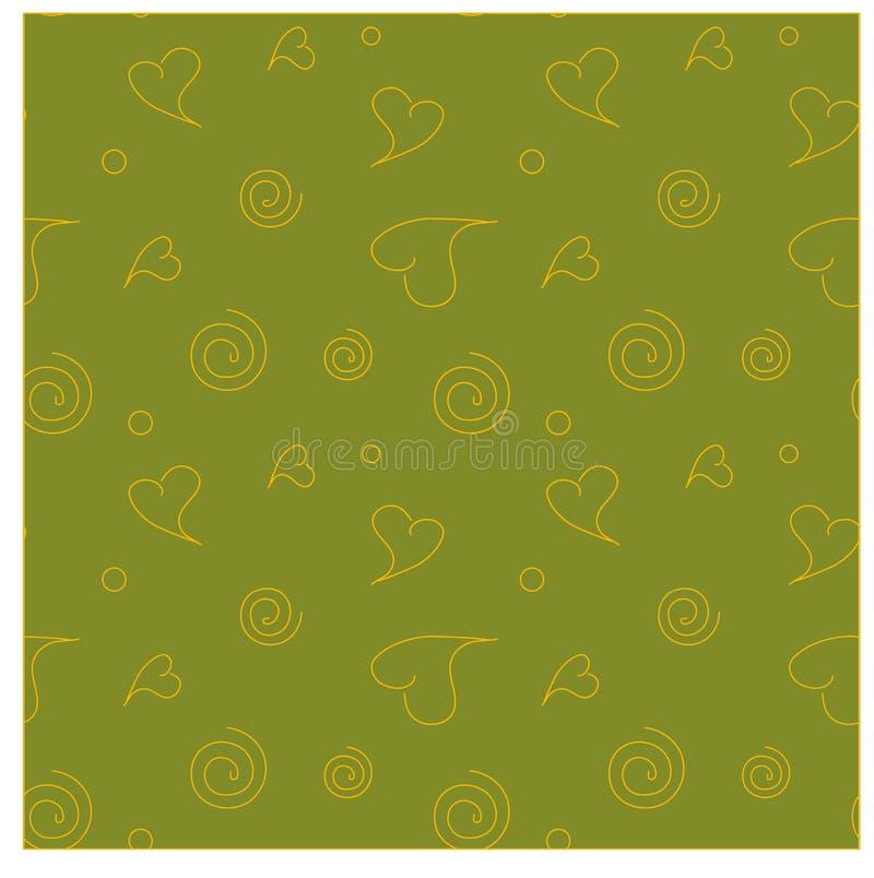 Lijn oranje harten, wervelingen op haki naadloze achtergrond stock illustratie