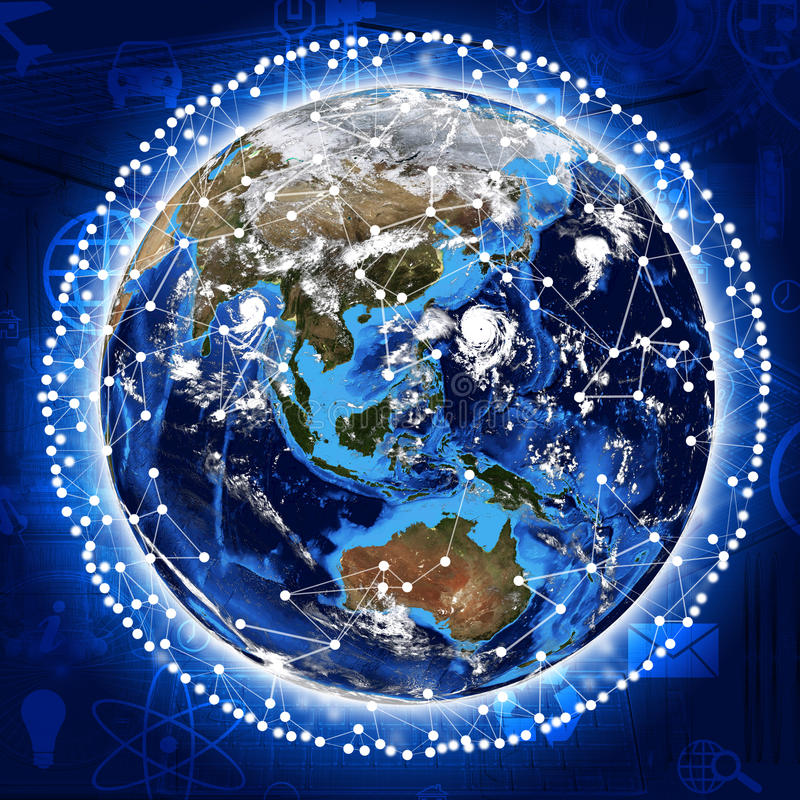 Lijn rond de aarde stock foto