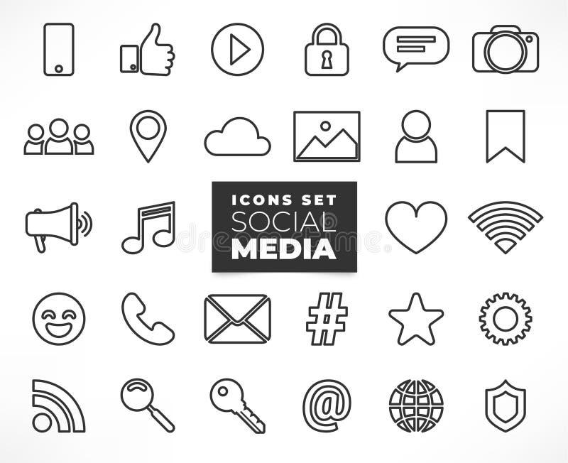 Lijn sociale media geplaatste pictogrammen vector illustratie